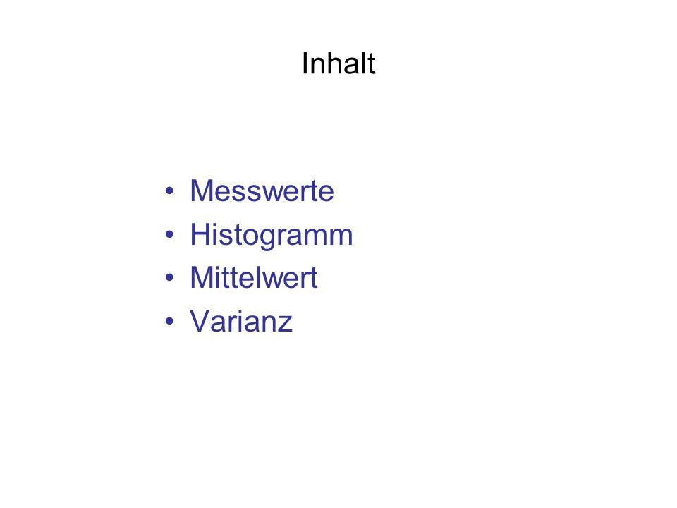 Inhalt Messwerte Histogramm Mittelwert Varianz