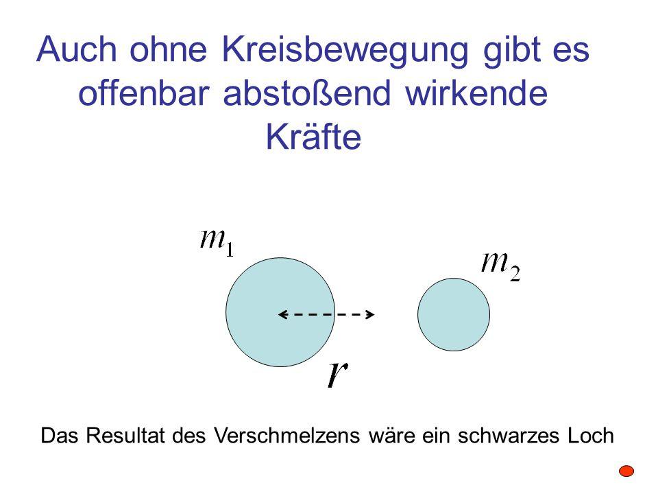 Auch ohne Kreisbewegung gibt es offenbar abstoßend wirkende Kräfte Das Resultat des Verschmelzens wäre ein schwarzes Loch