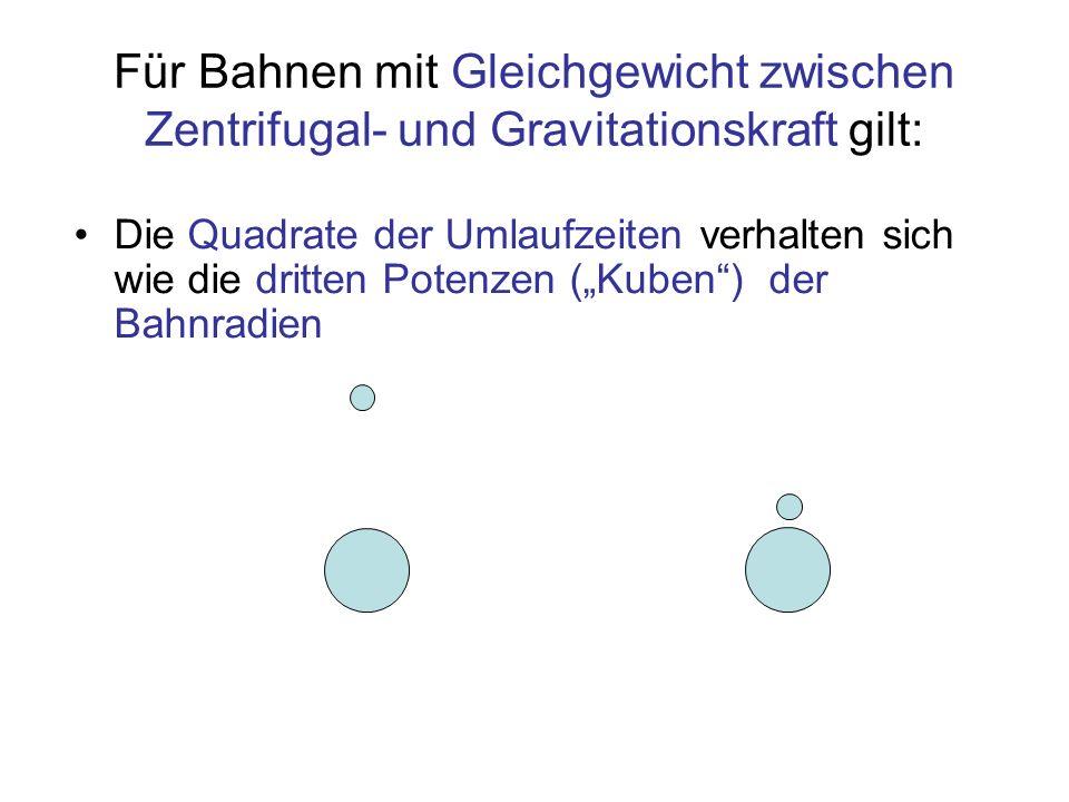 Für Bahnen mit Gleichgewicht zwischen Zentrifugal- und Gravitationskraft gilt: Die Quadrate der Umlaufzeiten verhalten sich wie die dritten Potenzen (