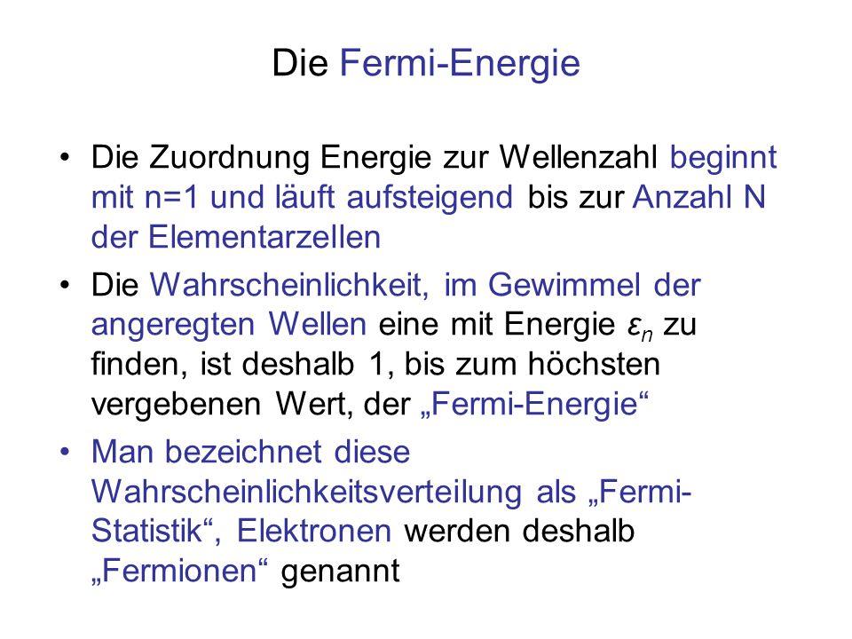 Die Fermi-Energie Die Zuordnung Energie zur Wellenzahl beginnt mit n=1 und läuft aufsteigend bis zur Anzahl N der Elementarzellen Die Wahrscheinlichke