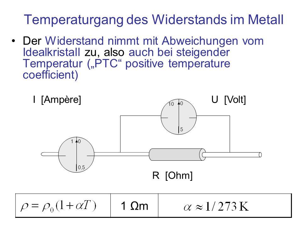 Temperaturgang des Widerstands im Metall Der Widerstand nimmt mit Abweichungen vom Idealkristall zu, also auch bei steigender Temperatur (PTC positive