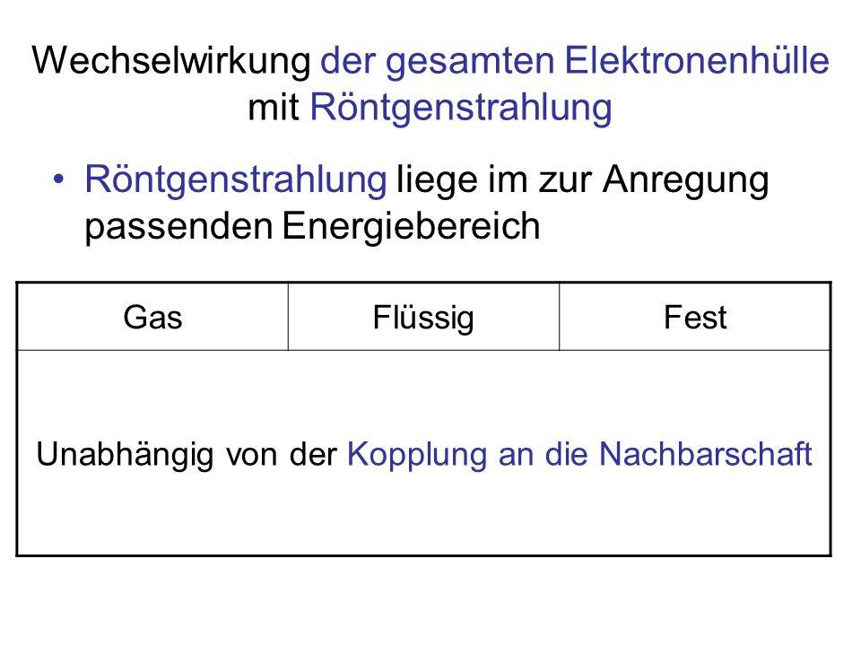 Wechselwirkung der gesamten Elektronenhülle mit Röntgenstrahlung GasFlüssigFest Unabhängig von der Kopplung an die Nachbarschaft Röntgenstrahlung lieg