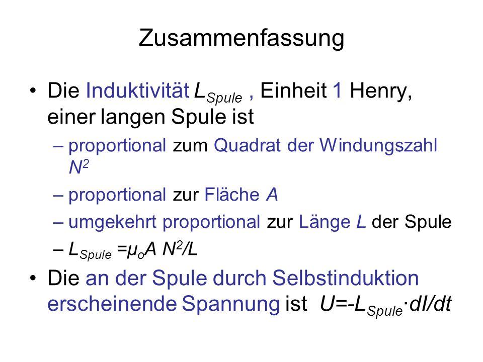 Zusammenfassung Die Induktivität L Spule, Einheit 1 Henry, einer langen Spule ist –proportional zum Quadrat der Windungszahl N 2 –proportional zur Flä