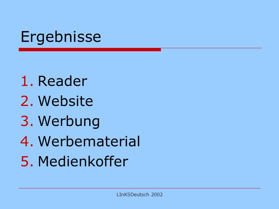 LInKSDeutsch 2002 Ergebnisse 1.Reader 2.Website 3.Werbung 4.Werbematerial 5.Medienkoffer