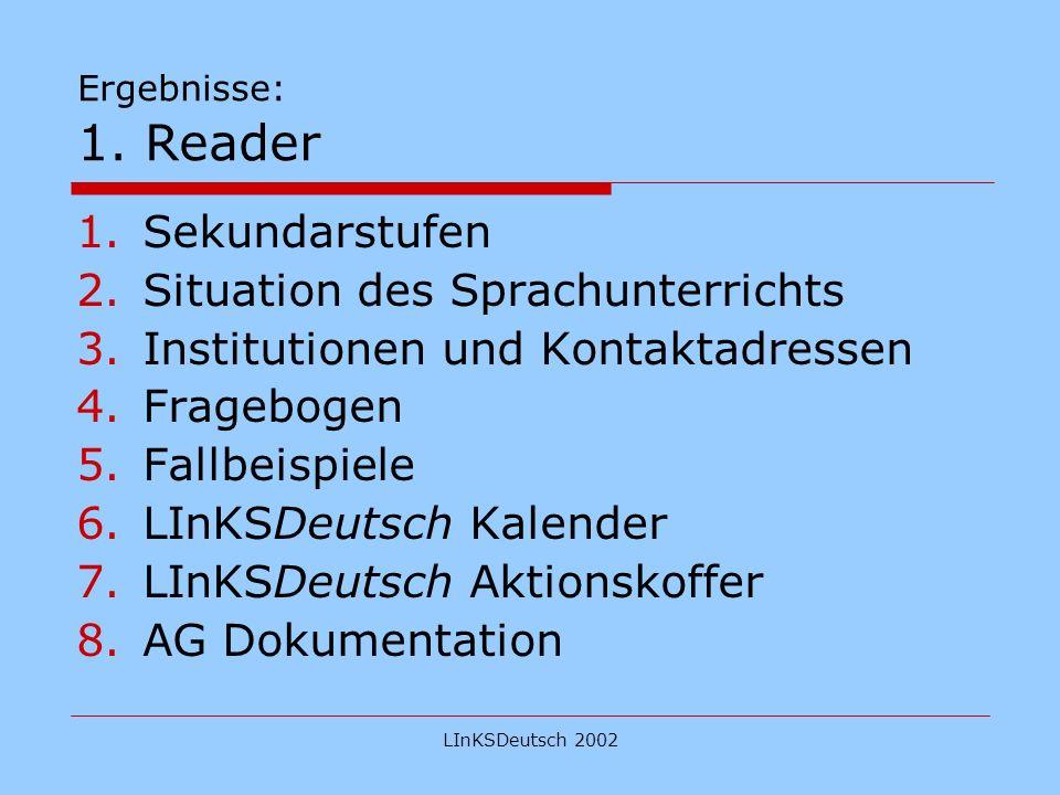 LInKSDeutsch 2002 Ergebnisse: 2. Website über http://london.daad.de
