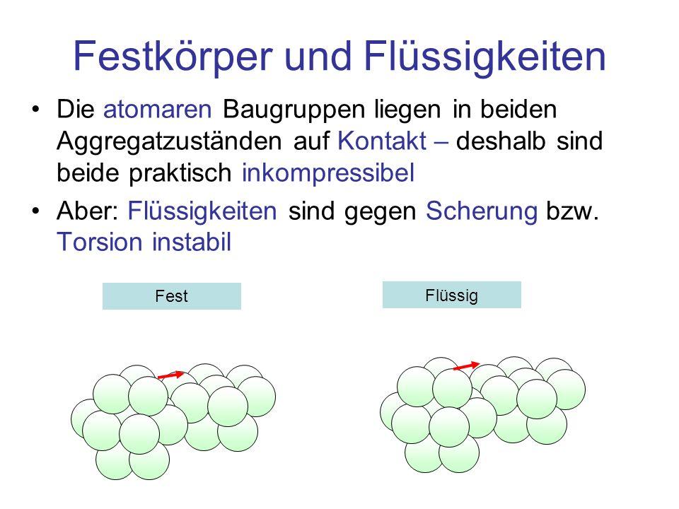 Festkörper und Flüssigkeiten Die atomaren Baugruppen liegen in beiden Aggregatzuständen auf Kontakt – deshalb sind beide praktisch inkompressibel Aber: Flüssigkeiten sind gegen Scherung bzw.