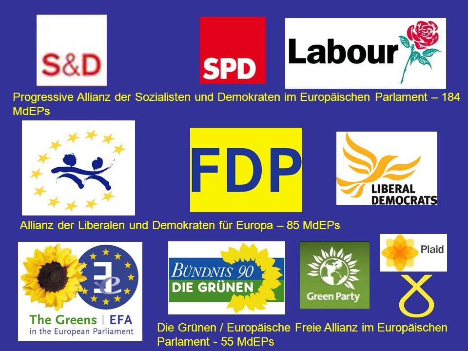 Progressive Allianz der Sozialisten und Demokraten im Europäischen Parlament – 184 MdEPs Allianz der Liberalen und Demokraten für Europa – 85 MdEPs Die Grünen / Europäische Freie Allianz im Europäischen Parlament - 55 MdEPs