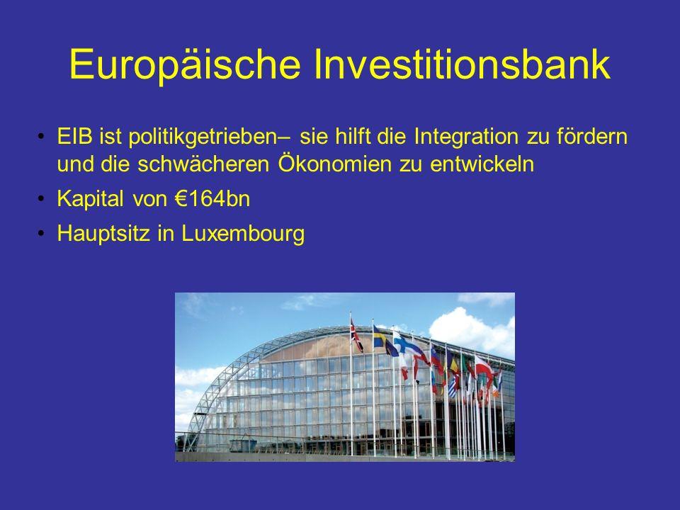 Europäische Investitionsbank EIB ist politikgetrieben– sie hilft die Integration zu fördern und die schwächeren Ökonomien zu entwickeln Kapital von 164bn Hauptsitz in Luxembourg