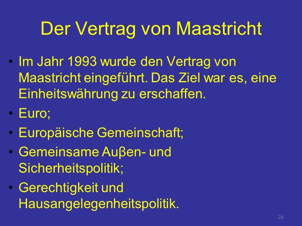 24 Der Vertrag von Maastricht Im Jahr 1993 wurde den Vertrag von Maastricht eingeführt.