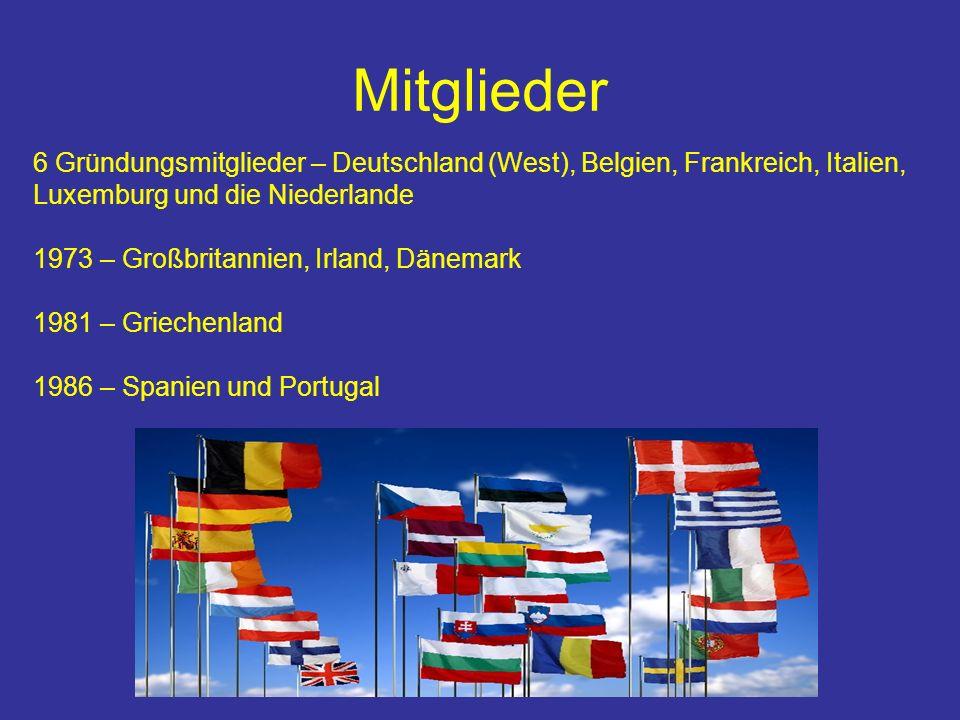 6 Gründungsmitglieder – Deutschland (West), Belgien, Frankreich, Italien, Luxemburg und die Niederlande 1973 – Großbritannien, Irland, Dänemark 1981 – Griechenland 1986 – Spanien und Portugal