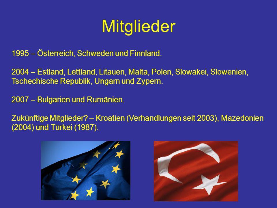 Mitglieder 1995 – Österreich, Schweden und Finnland.