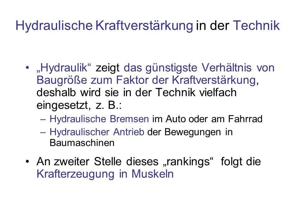 Hydraulische Kraftverstärkung in der Technik Hydraulik zeigt das günstigste Verhältnis von Baugröße zum Faktor der Kraftverstärkung, deshalb wird sie