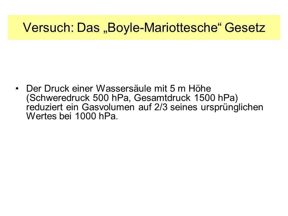 Versuch: Das Boyle-Mariottesche Gesetz Der Druck einer Wassersäule mit 5 m Höhe (Schweredruck 500 hPa, Gesamtdruck 1500 hPa) reduziert ein Gasvolumen