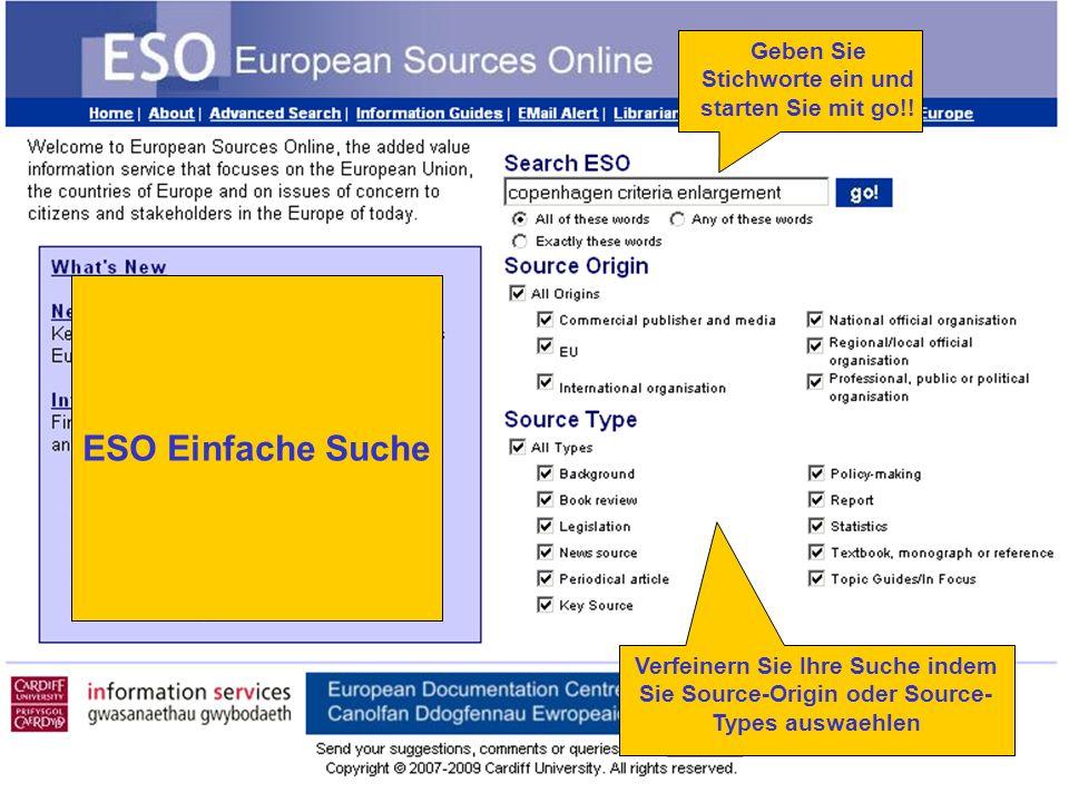 Verfeinern Sie Ihre Suche indem Sie Source-Origin oder Source- Types auswaehlen Geben Sie Stichworte ein und starten Sie mit go!.