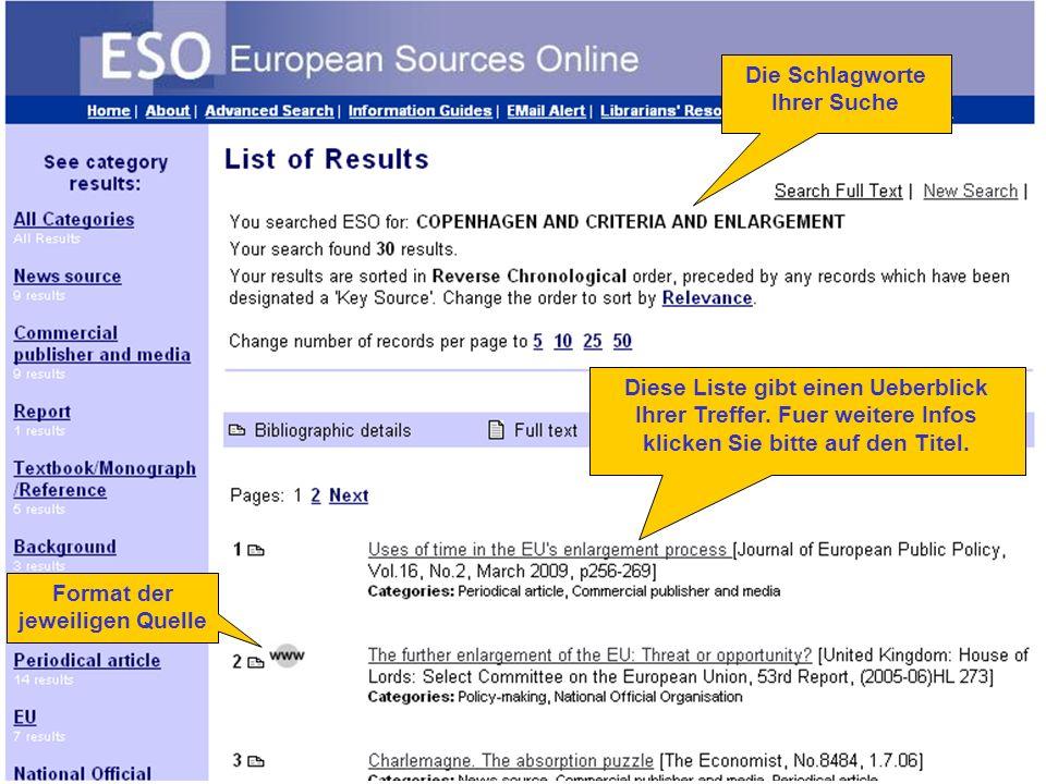 Number of results Format der jeweiligen Quelle Die Schlagworte Ihrer Suche Diese Liste gibt einen Ueberblick Ihrer Treffer.