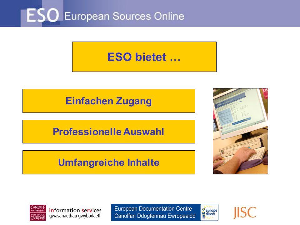 Die Suche in ESO bietet Ihnen qualitative Volltexte und bibliographische Informationen aus folgenden Quellen… Einfacher Zugang…