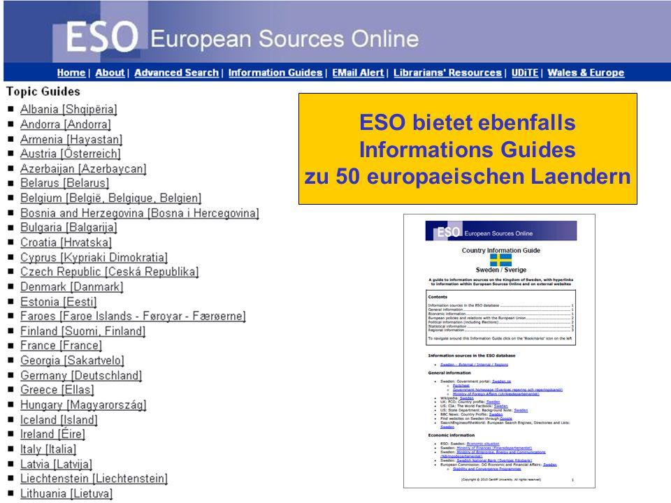 ESO bietet ebenfalls Informations Guides zu 50 europaeischen Laendern