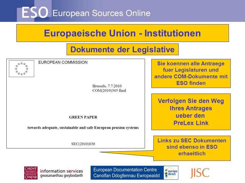 ESO Information Guides EU-InstitutionenEU-Politik Europaeische Laender