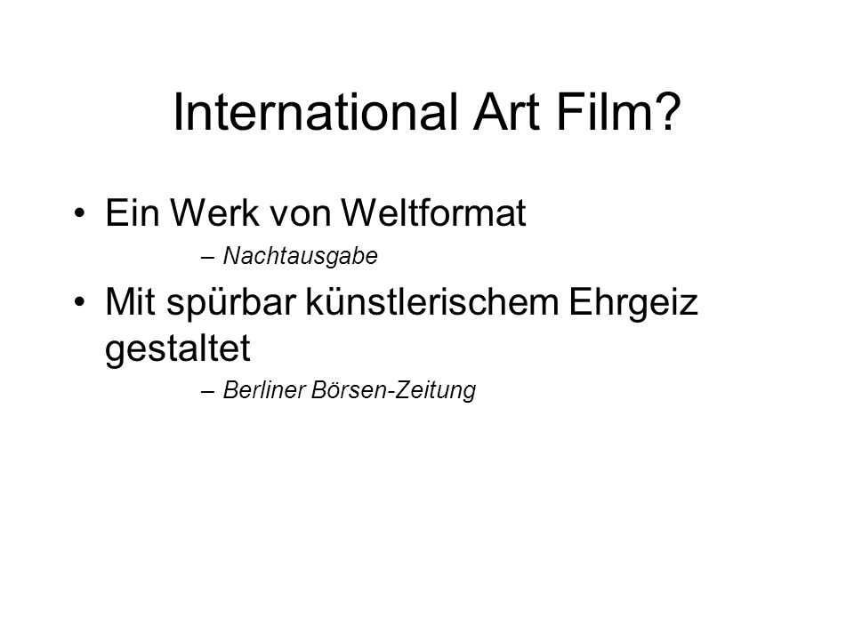 International Art Film.