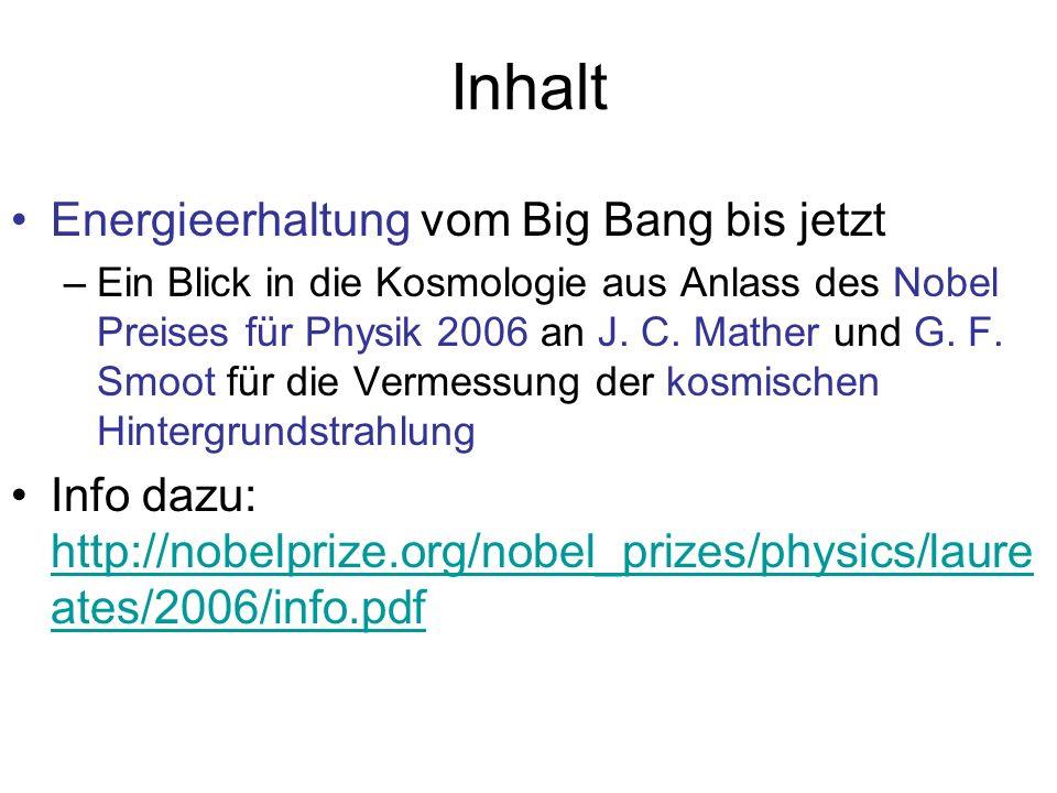 Inhalt Energieerhaltung vom Big Bang bis jetzt –Ein Blick in die Kosmologie aus Anlass des Nobel Preises für Physik 2006 an J. C. Mather und G. F. Smo