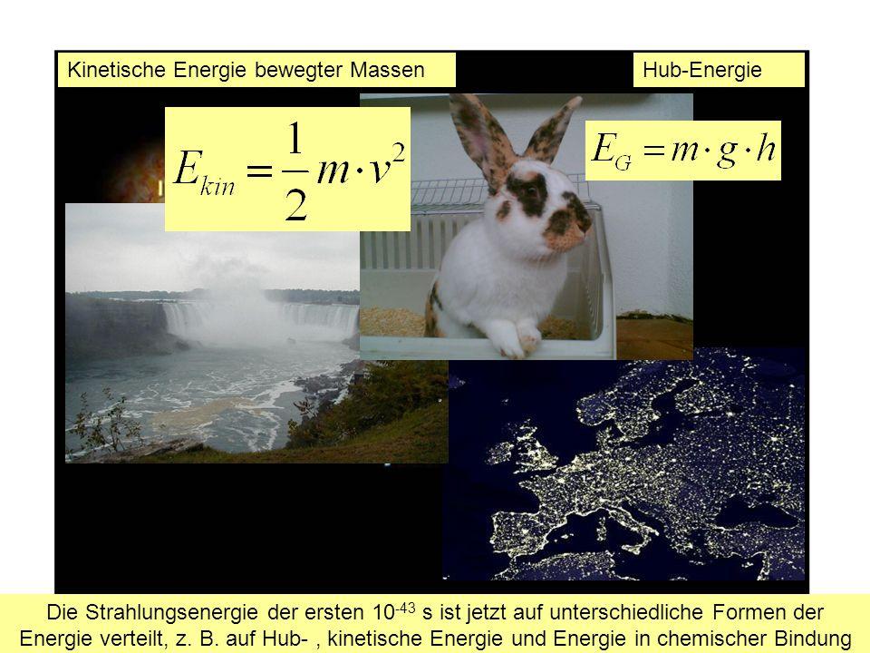 Hub-EnergieKinetische Energie bewegter Massen Auf der Erde können ich stabile, Die Strahlungsenergie der ersten 10 -43 s ist jetzt auf unterschiedliche Formen der Energie verteilt, z.