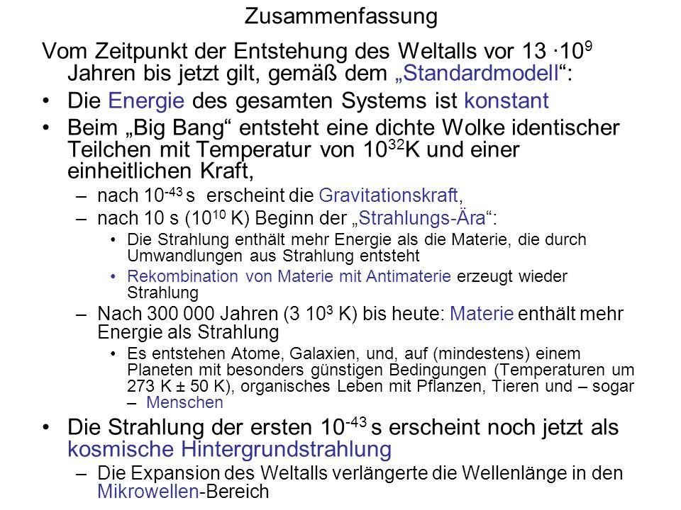 Zusammenfassung Vom Zeitpunkt der Entstehung des Weltalls vor 13 ·10 9 Jahren bis jetzt gilt, gemäß dem Standardmodell: Die Energie des gesamten Syste