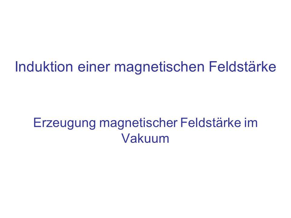 Erzeugung magnetischer Feldstärke im Vakuum Induktion einer magnetischen Feldstärke