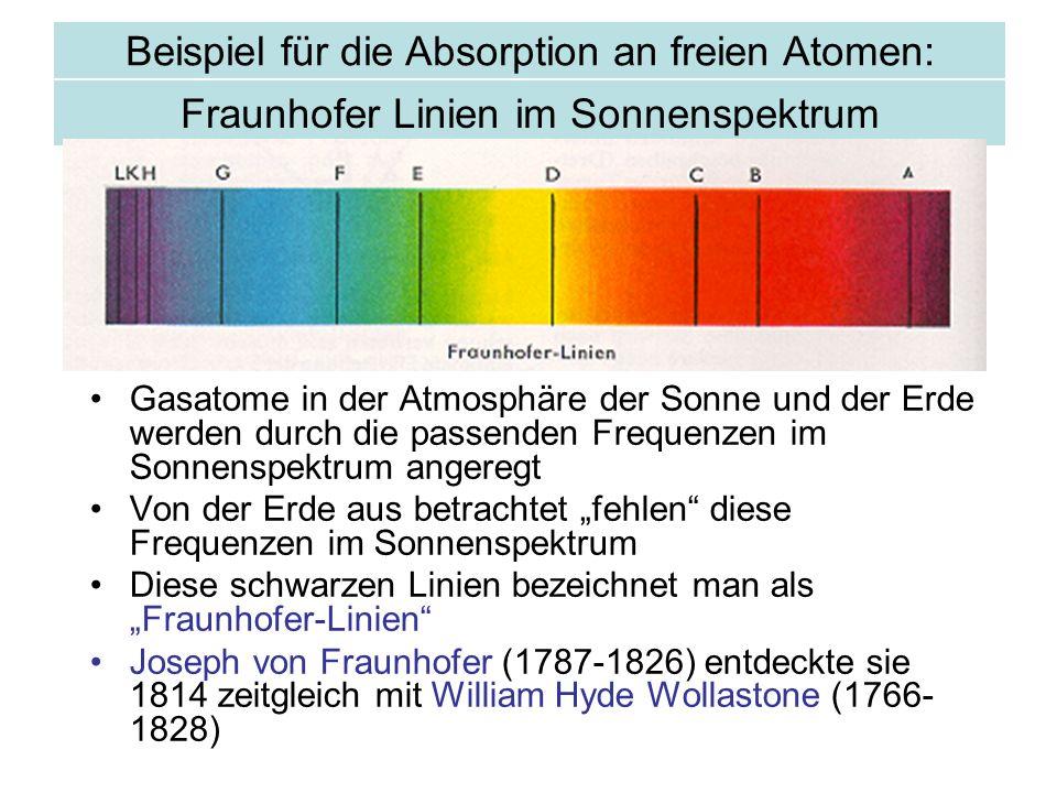 Fraunhofer Linien im Sonnenspektrum Gasatome in der Atmosphäre der Sonne und der Erde werden durch die passenden Frequenzen im Sonnenspektrum angeregt Von der Erde aus betrachtet fehlen diese Frequenzen im Sonnenspektrum Diese schwarzen Linien bezeichnet man als Fraunhofer-Linien Joseph von Fraunhofer (1787-1826) entdeckte sie 1814 zeitgleich mit William Hyde Wollastone (1766- 1828) Beispiel für die Absorption an freien Atomen: