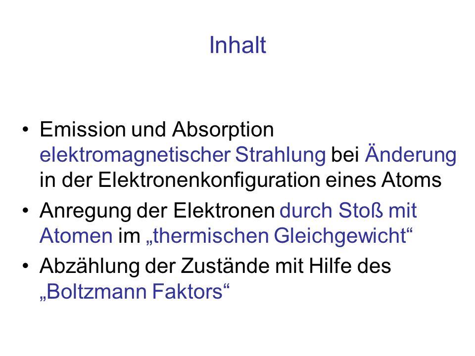 Inhalt Emission und Absorption elektromagnetischer Strahlung bei Änderung in der Elektronenkonfiguration eines Atoms Anregung der Elektronen durch Stoß mit Atomen im thermischen Gleichgewicht Abzählung der Zustände mit Hilfe des Boltzmann Faktors