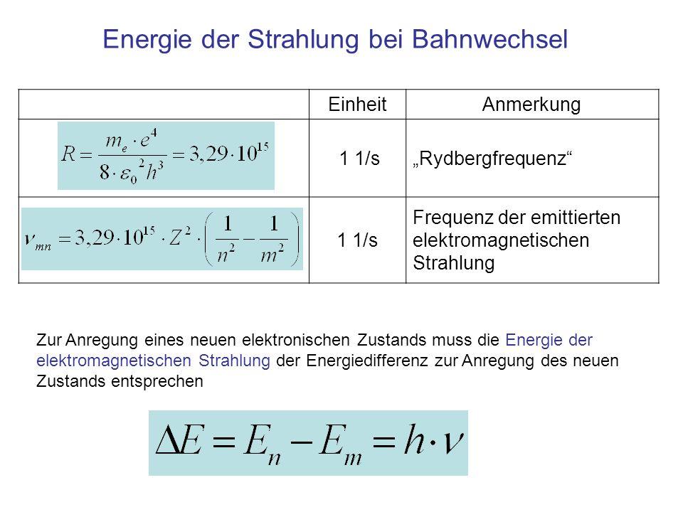 EinheitAnmerkung 1 1/sRydbergfrequenz 1 1/s Frequenz der emittierten elektromagnetischen Strahlung Energie der Strahlung bei Bahnwechsel Zur Anregung eines neuen elektronischen Zustands muss die Energie der elektromagnetischen Strahlung der Energiedifferenz zur Anregung des neuen Zustands entsprechen