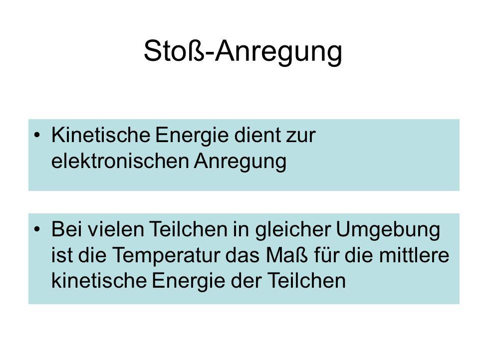 Stoß-Anregung Kinetische Energie dient zur elektronischen Anregung Bei vielen Teilchen in gleicher Umgebung ist die Temperatur das Maß für die mittlere kinetische Energie der Teilchen