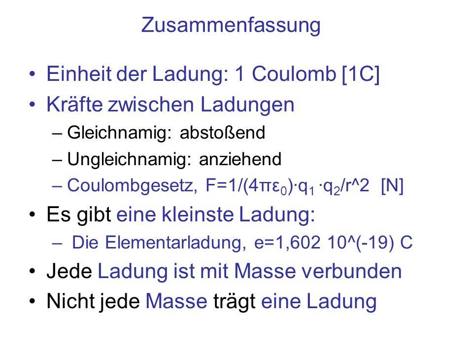 Zusammenfassung Einheit der Ladung: 1 Coulomb [1C] Kräfte zwischen Ladungen –Gleichnamig: abstoßend –Ungleichnamig: anziehend –Coulombgesetz, F=1/(4πε