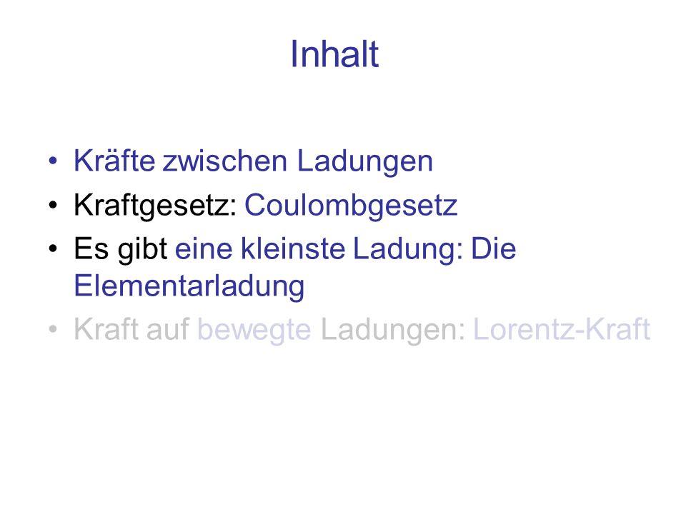 Inhalt Kräfte zwischen Ladungen Kraftgesetz: Coulombgesetz Es gibt eine kleinste Ladung: Die Elementarladung Kraft auf bewegte Ladungen: Lorentz-Kraft