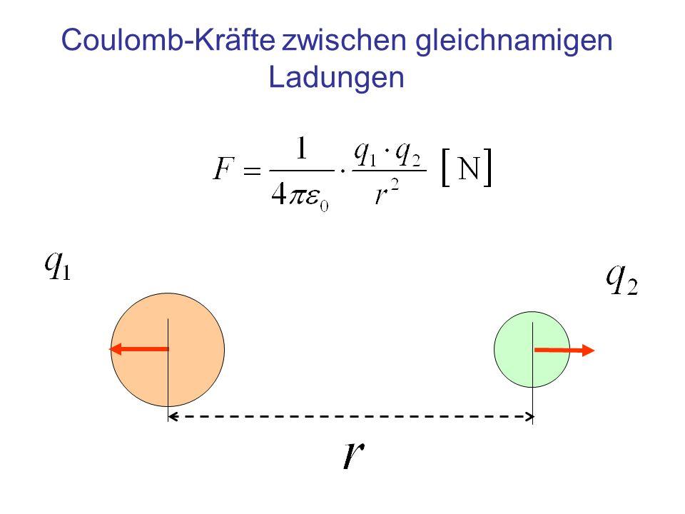 Coulomb-Kräfte zwischen gleichnamigen Ladungen
