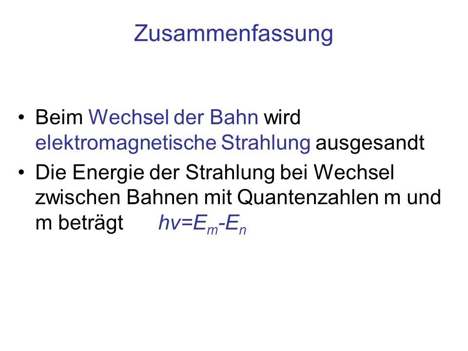 Zusammenfassung Beim Wechsel der Bahn wird elektromagnetische Strahlung ausgesandt Die Energie der Strahlung bei Wechsel zwischen Bahnen mit Quantenza