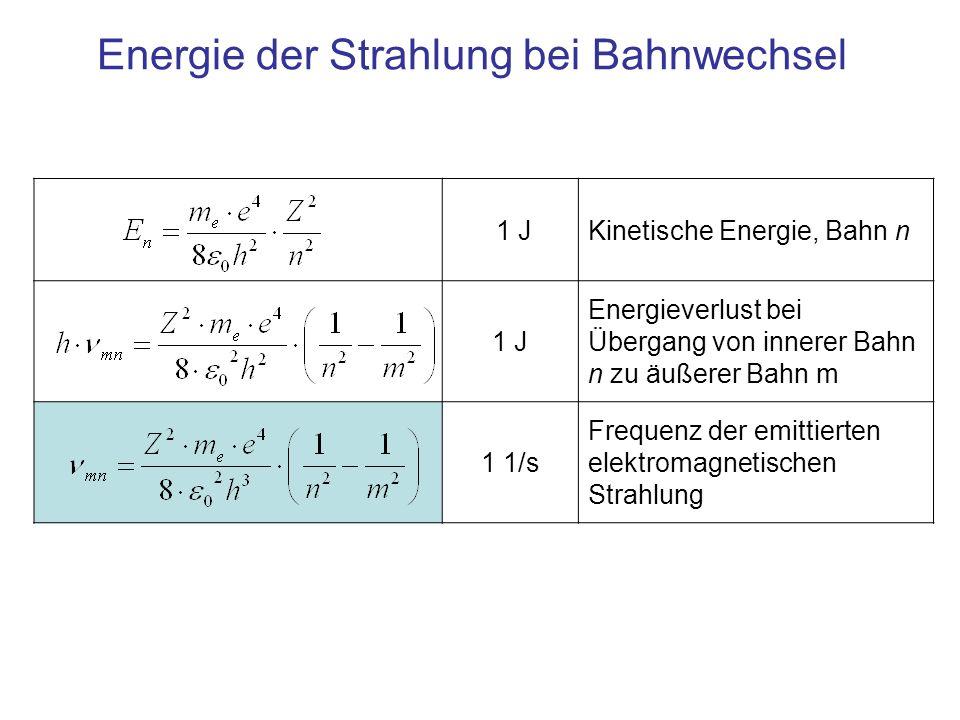 1 JKinetische Energie, Bahn n 1 J Energieverlust bei Übergang von innerer Bahn n zu äußerer Bahn m 1 1/s Frequenz der emittierten elektromagnetischen