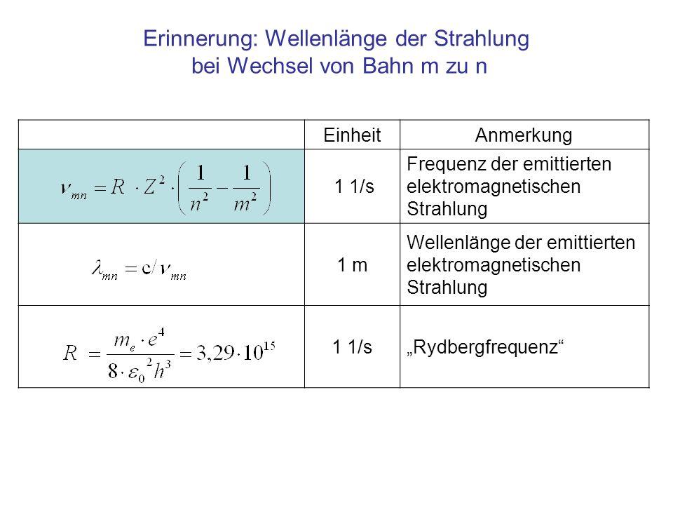 EinheitAnmerkung 1 1/s Frequenz der emittierten elektromagnetischen Strahlung 1 m Wellenlänge der emittierten elektromagnetischen Strahlung 1 1/sRydbe