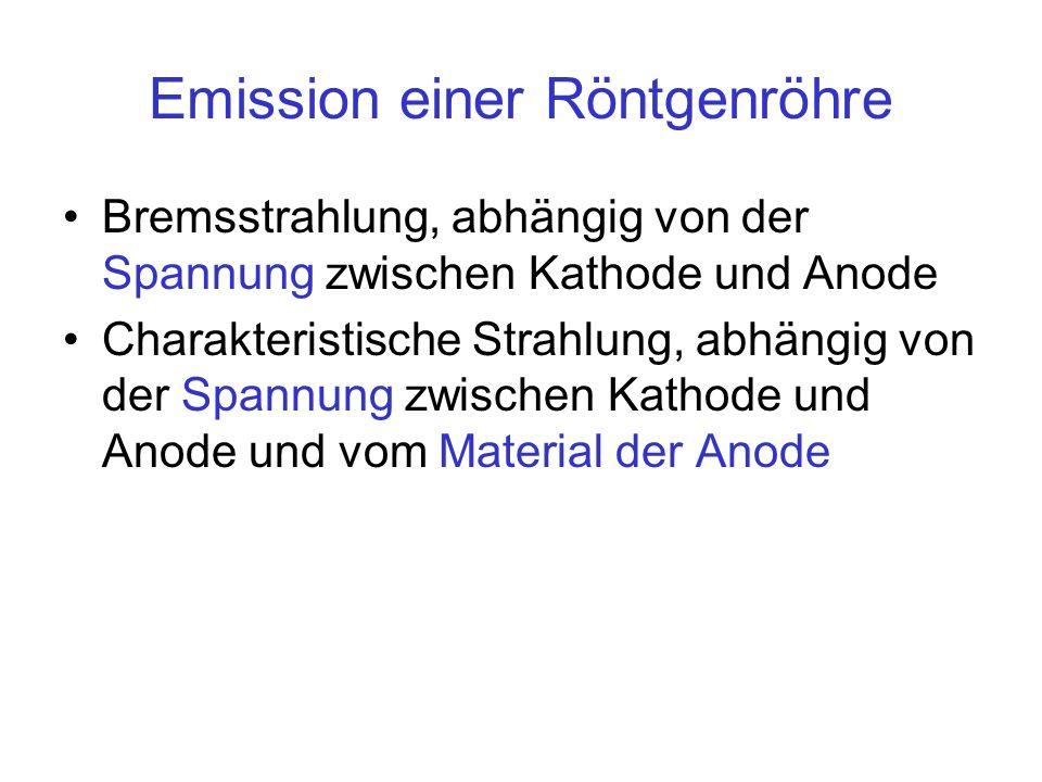 Emission einer Röntgenröhre Bremsstrahlung, abhängig von der Spannung zwischen Kathode und Anode Charakteristische Strahlung, abhängig von der Spannun