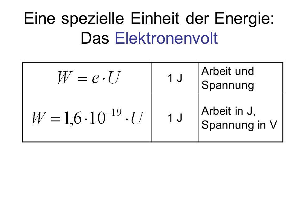 Eine spezielle Einheit der Energie: Das Elektronenvolt 1 J Arbeit und Spannung 1 J Arbeit in J, Spannung in V