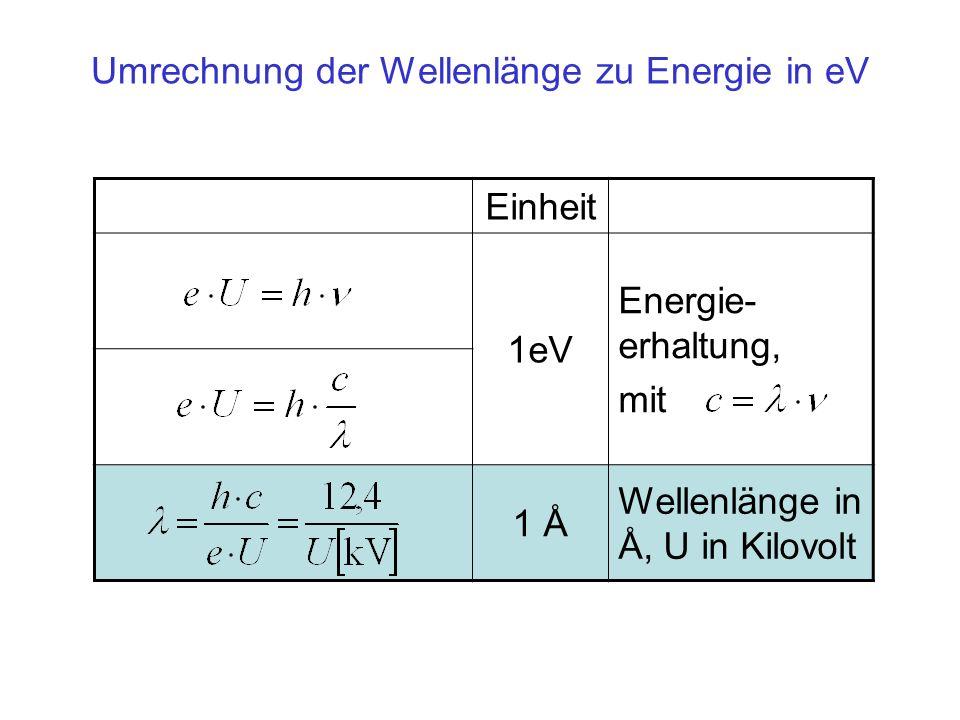 Einheit 1eV Energie- erhaltung, mit 1 Å Wellenlänge in Å, U in Kilovolt Umrechnung der Wellenlänge zu Energie in eV