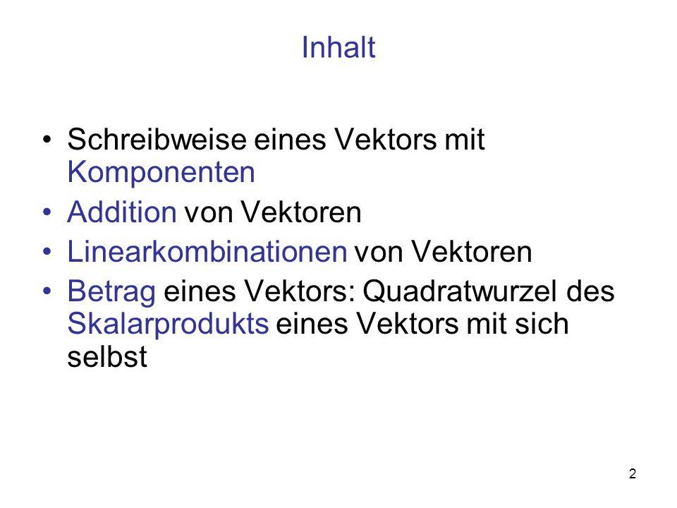 2 Inhalt Schreibweise eines Vektors mit Komponenten Addition von Vektoren Linearkombinationen von Vektoren Betrag eines Vektors: Quadratwurzel des Ska