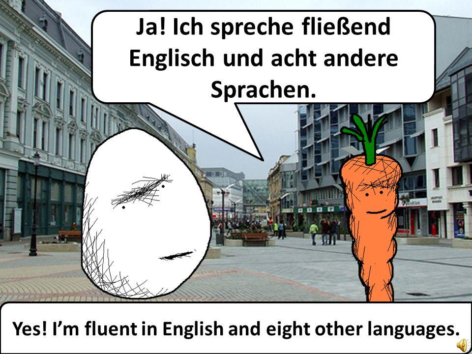Ja.Ich spreche fließend Englisch und acht andere Sprachen.