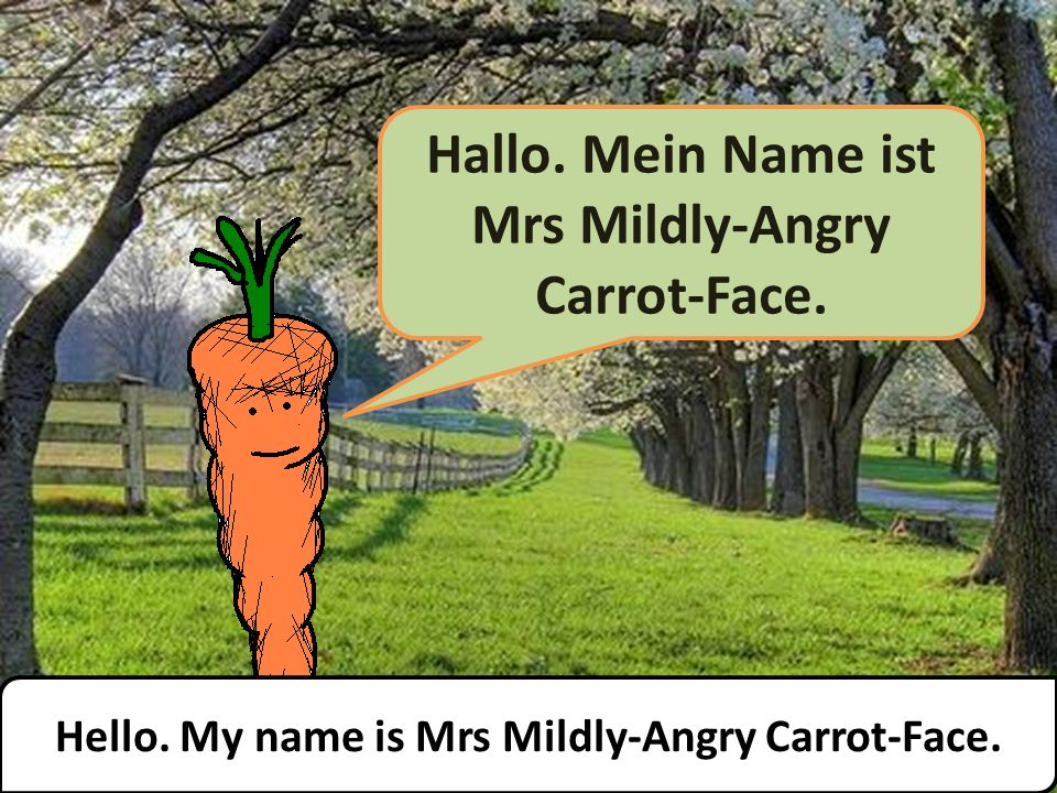 Hallo. Mein Name ist Mrs Mildly-Angry Carrot-Face. Hello. My name is Mrs Mildly-Angry Carrot-Face.