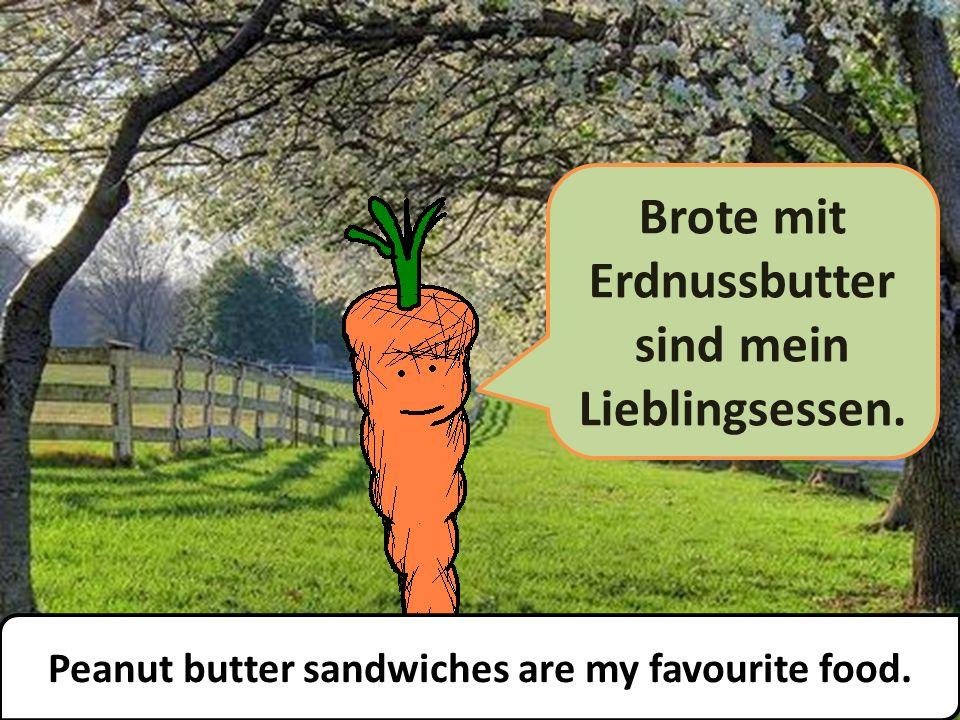 Brote mit Erdnussbutter sind mein Lieblingsessen. Peanut butter sandwiches are my favourite food.