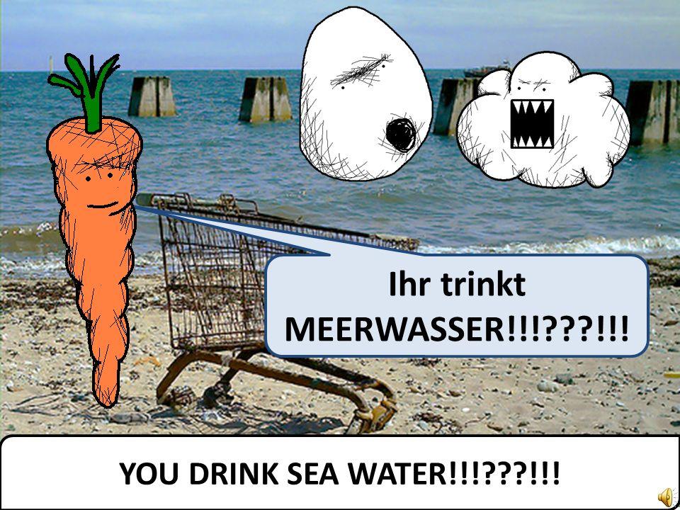 We drink sea water and were happy. Wir trinken Meerwasser und wir sind glücklich.