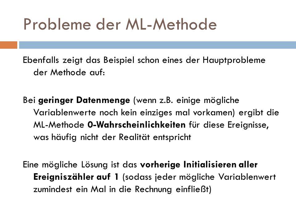 Probleme der ML-Methode Ebenfalls zeigt das Beispiel schon eines der Hauptprobleme der Methode auf: Bei geringer Datenmenge (wenn z.B. einige mögliche