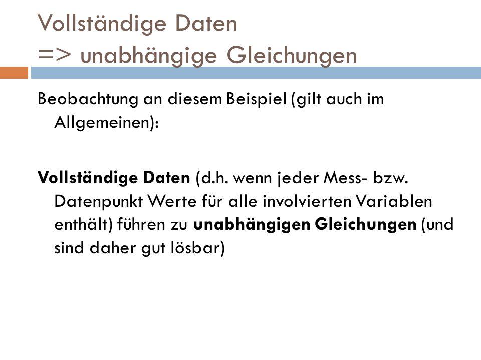 Vollständige Daten => unabhängige Gleichungen Beobachtung an diesem Beispiel (gilt auch im Allgemeinen): Vollständige Daten (d.h. wenn jeder Mess- bzw