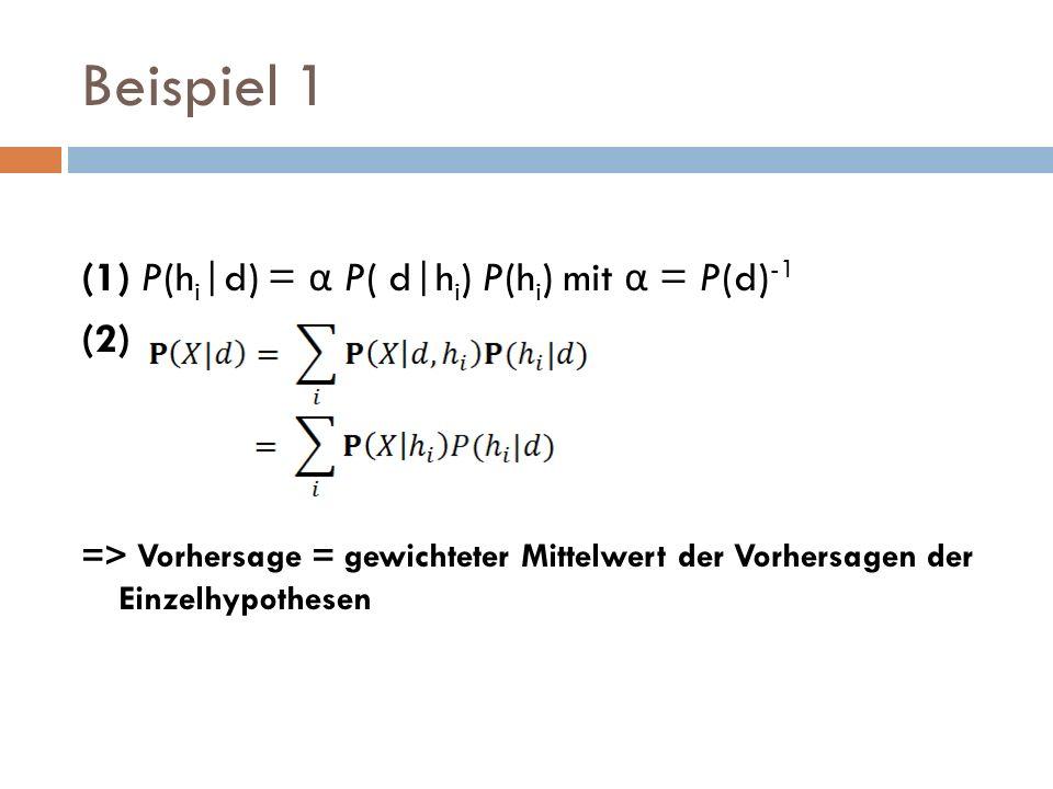 Beispiel 1 (1) P(h i |d) = α P( d|h i ) P(h i ) mit α = P(d) -1 (2) => Vorhersage = gewichteter Mittelwert der Vorhersagen der Einzelhypothesen