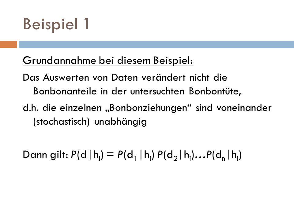 Beispiel 2 Daten: N geöffnete Bonbons, c davon Kirsche, l = N-c Zitrone P(d|h θ ) = P(d 1 |h θ )…P(d N | h θ ) = θ c (1- θ ) l ML-Hypothese durch θ gegeben, welches P(d|h θ ) maximiert L(d|h θ ) = log P(d|h θ ) = c log θ +l log (1- θ )