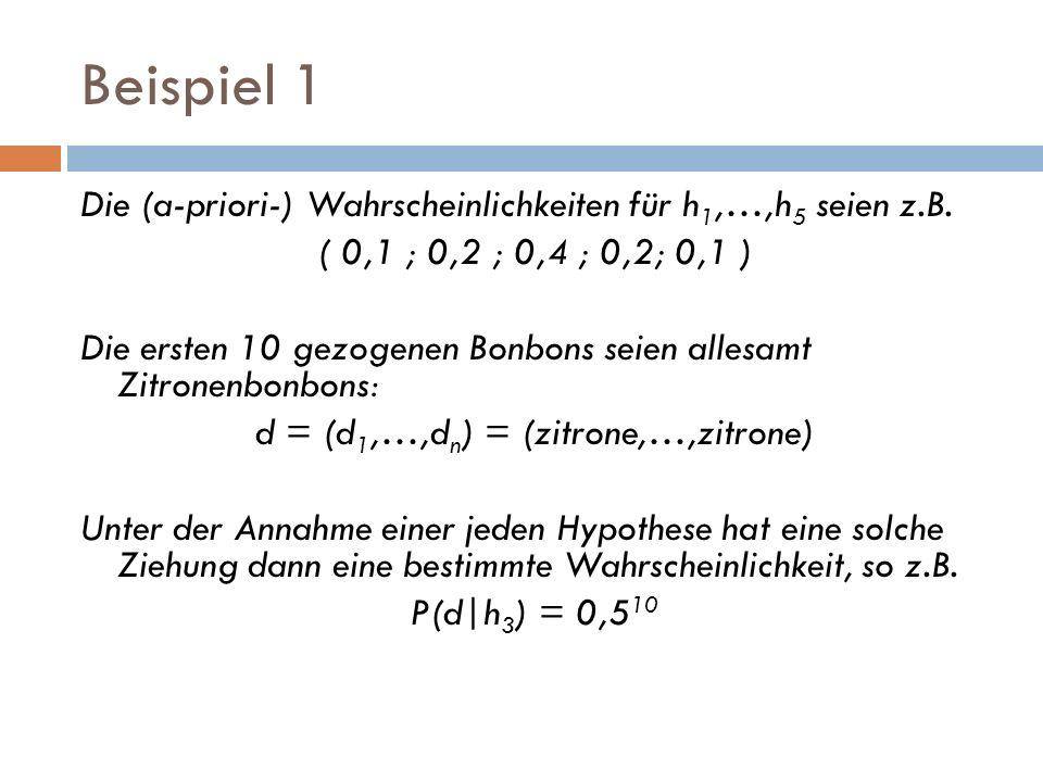 Beispiel 1 Die (a-priori-) Wahrscheinlichkeiten für h 1,…,h 5 seien z.B. ( 0,1 ; 0,2 ; 0,4 ; 0,2; 0,1 ) Die ersten 10 gezogenen Bonbons seien allesamt